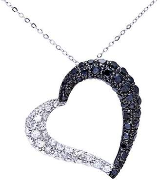 Black Diamond Naava Women's 9 ct White Gold Pave Set 1.00ct Heart Pendant and Chain Necklace of 46 cm