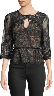 Marchesa Lace Peplum Top w/ Three-Quarter Sleeves