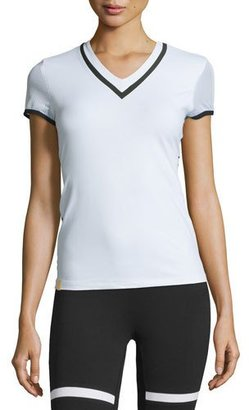Monreal London Net Gains High-Performance V-Neck Tee, White $210 thestylecure.com