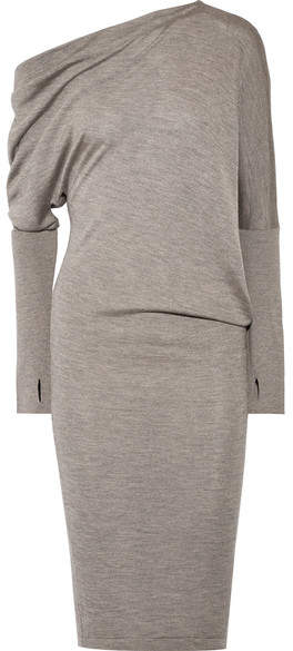 TOM FORD - One-shoulder Cashmere And Silk-blend Dress - Dark gray