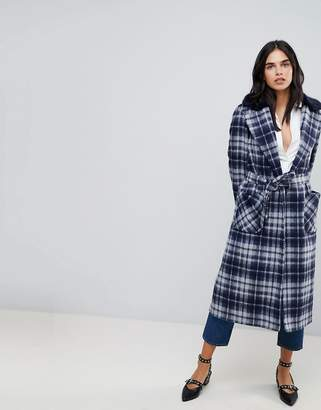 Helene Berman Belted Duster Check Coat