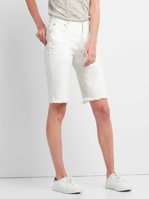 """Gap High Rise 12"""" Denim Bermuda Shorts with Frayed Hem"""