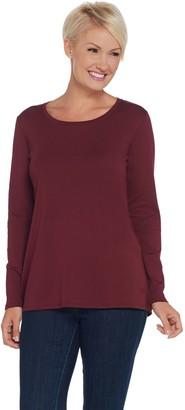 Isaac Mizrahi Live! Essentials Pima Cotton Long Sleeve Knit Top