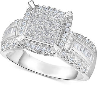 Macy's Diamond Multi-Shaped Stone Bridal Ring (1 ct. t.w.) in 14k White Gold