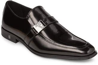 Versace Black Spazzolato Leather Loafers
