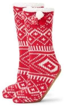 Knit Instarsia Faux-Fur Lined Sock Slippers