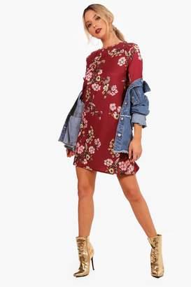 boohoo Floral 3/4 Sleeve Shift Dress