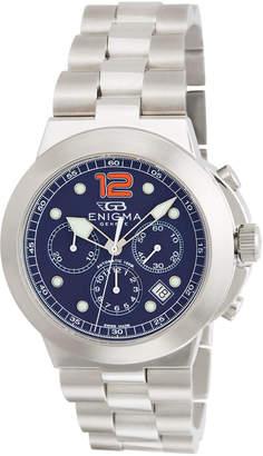 Bulgari Enigma By Gianni Men's Chronograph Watch w/ Bracelet Strap, Blue/Orange