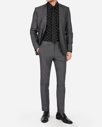 Express Extra Slim Charcoal Cotton Oxford Suit Pant