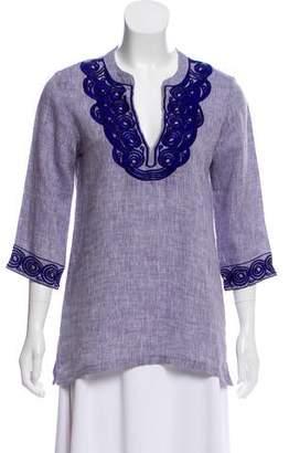 Roberta Freymann Embroidered Linen Top