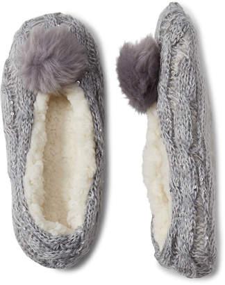 Capelli New York Pom-Pom Faux Fur-Lined Slipper Socks