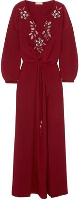 Tory Burch Michaela Embellished Silk Maxi Dress