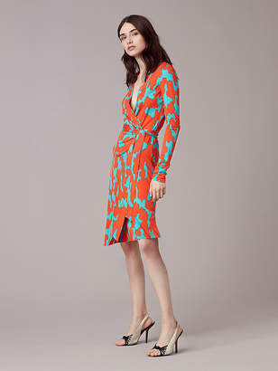 Diane von Furstenberg Julian Banded Silk Jersey Wrap Dress