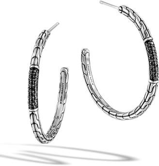 John Hardy Classic Chain Medium Silver Hoop Earrings with Black Sapphires