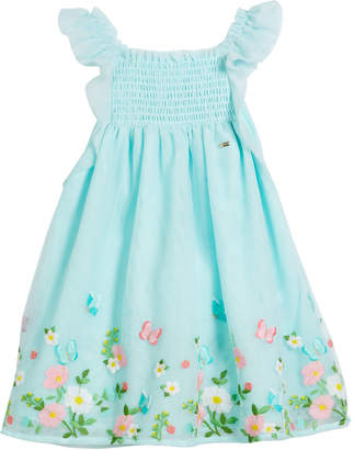 Mayoral Floral Embroidered Tulle Dress, Size 12-36 Months