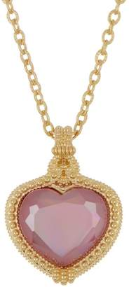 Judith Ripka 14K Gold Plated Sterling Silver Romance CZ Heart Pendant Necklace