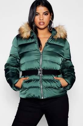 boohoo Plus Belted Puffer Jacket