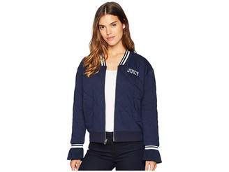Juicy Couture Quilted Terry Bomber Jacket Women's Clothing