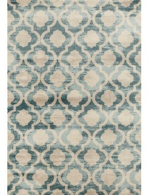 Peugeot World Menagerie Blue/Beige Area Rug World Menagerie