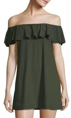MICHAEL Michael Kors Ruffle Off-the-Shoulder Coverup