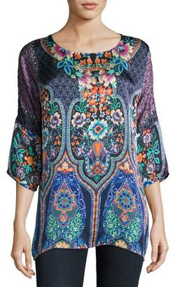 Johnny Was Malakye Dolman-Sleeve Floral-Print Top, Blue $220 thestylecure.com