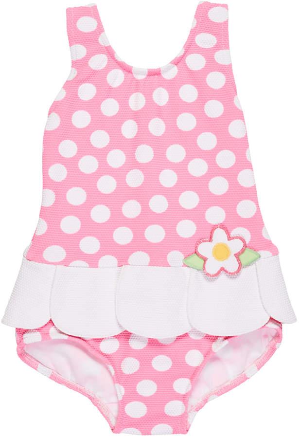 Florence Eiseman Polka Dot Waffle Swimsuit, Size 2-4