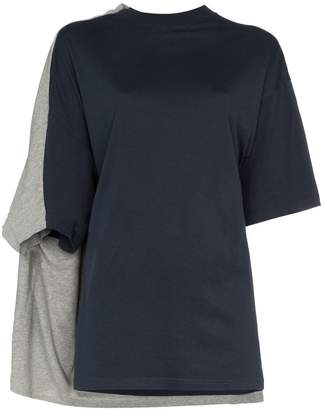 Y/Project Y / Project bi colour double sleeve cotton t shirt