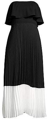 Aidan Mattox Women's Strapless Popover Pleated Midi Dress - Size 0