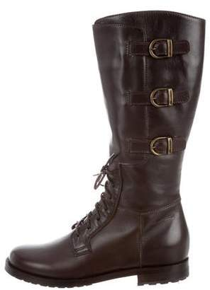 Santoni Girls' Leather Lace-Up Boots