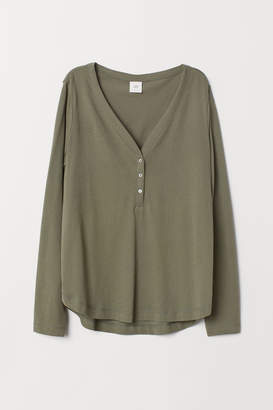 H&M V-neck Jersey Top - Green