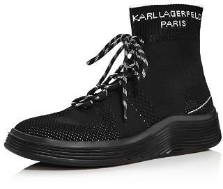 Karl Lagerfeld Paris Men's Knit High-Top Leather Sneakers