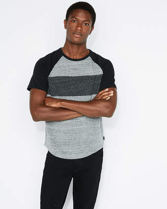 Express Chest Stripe Crew Neck Baseball Tee