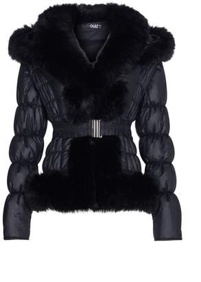 Quiz Black Padded Faux Fur Trim Hooded Jacket