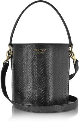 Meli-Melo Black Woven Leather Santina Mini Bucket Bag