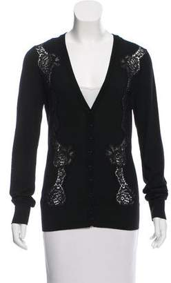 Dolce & Gabbana Lace-Accented V-Neck Cardigan