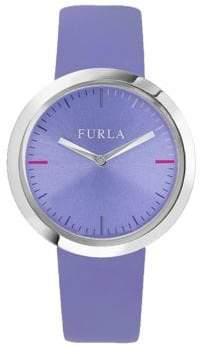 Furla Valentina Lilac Dial Calfskin Leather Watch