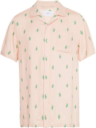 Onia Vacation Printed Jersey Button-Up Shirt