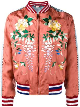 Gucci Orange Floral Embroidered bomber jacket