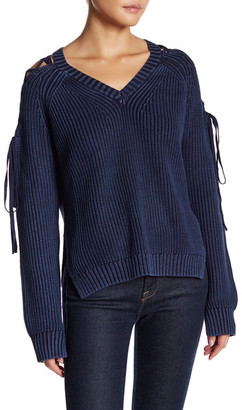 Fate Lace-Up Sleeve V-Neck Sweater $82 thestylecure.com