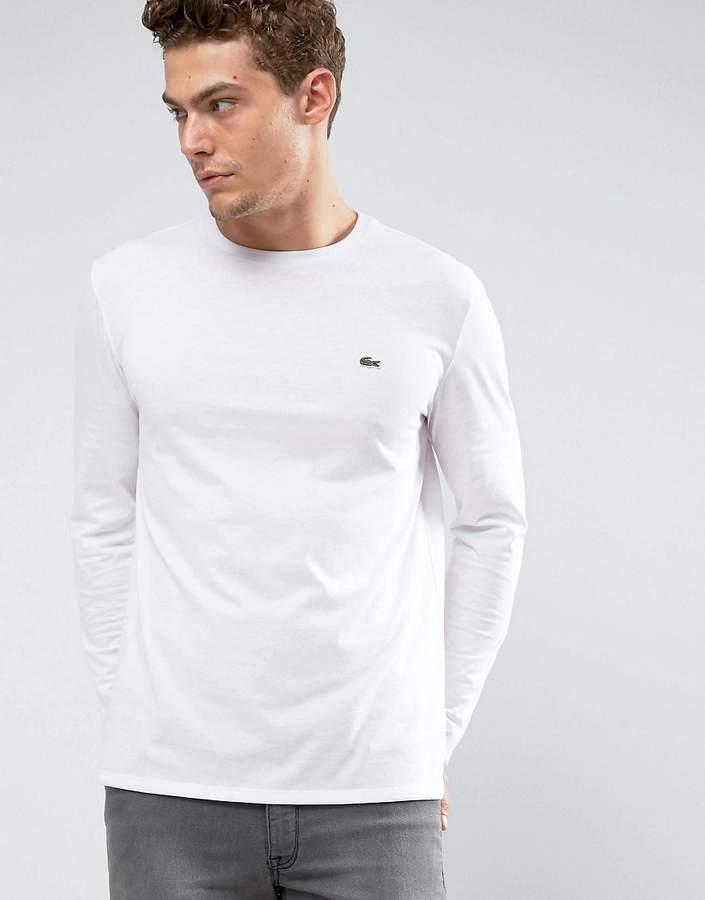 Lacoste Crew Neck Long Sleeve Basic Logo T-Shirt In White