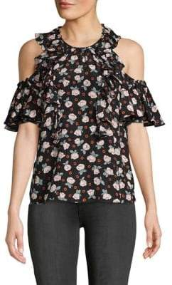 Rebecca Taylor Rosalie Cold-Shoulder Floral Silk Top