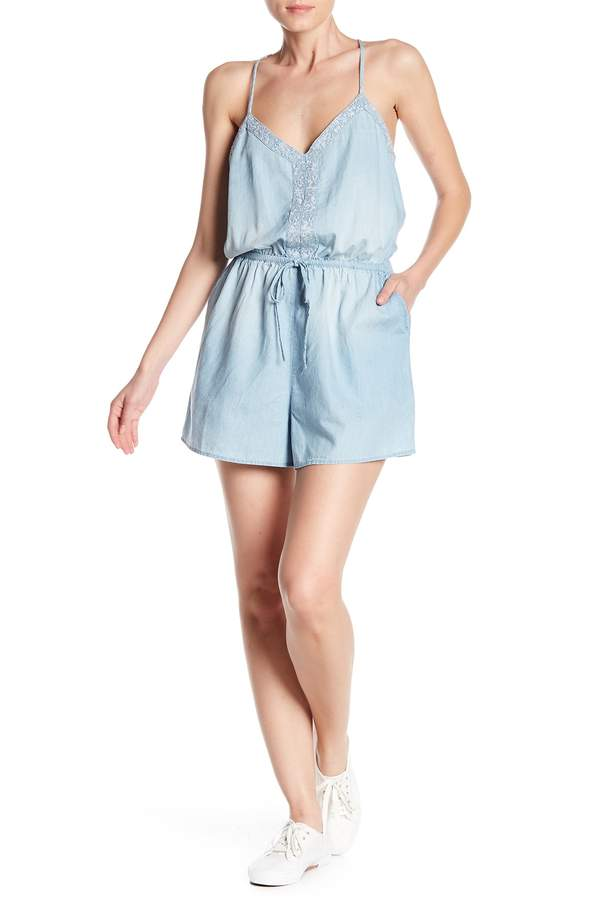 Melrose and Market Chambray Embroidered Romper (Regular & Petite)