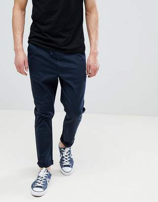 Asos DESIGN Tapered Woven Sweatpants In Navy With Fixed Hem