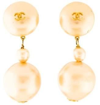 Chanel CC Faux Pearl Drop Earrings