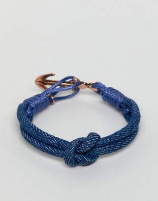 ICON BRAND navy cord bracelet with antique gold anchor