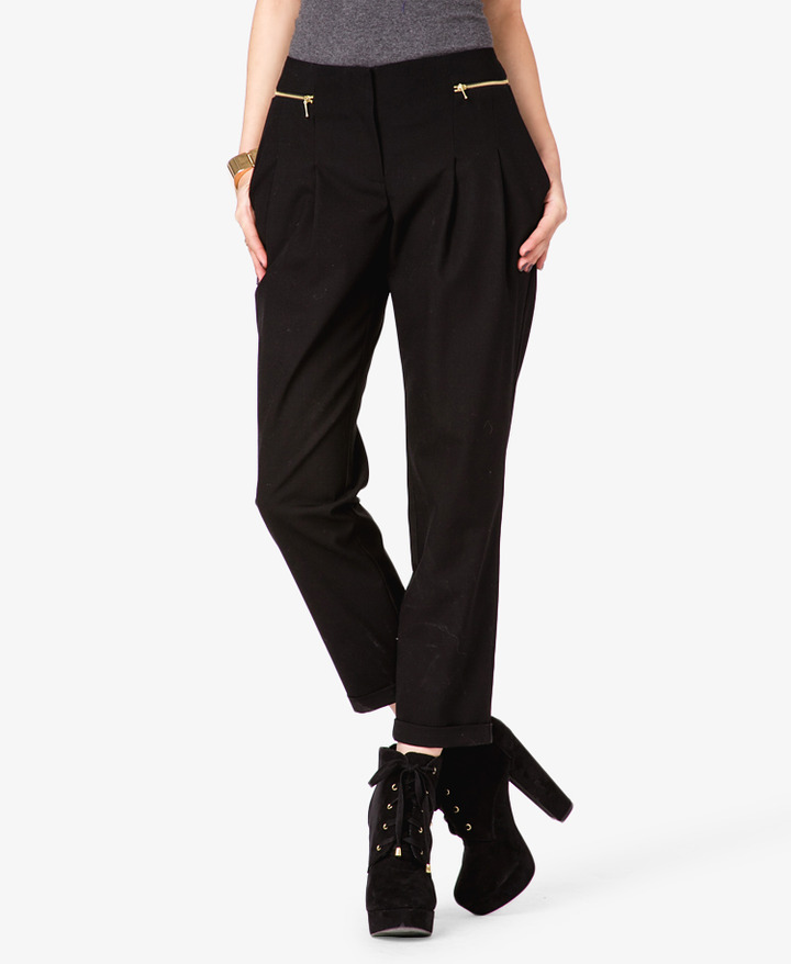 Forever 21 Zippered Pleated Pants