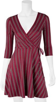 Iz Byer Juniors' Fit & Flare Faux Wrap Dress