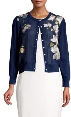 Karl Lagerfeld Paris Floral Button-Front Cardigan