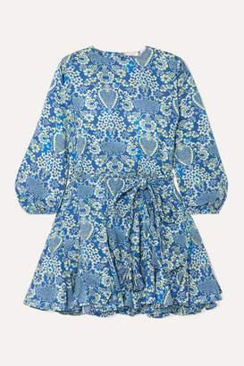 Rhode Resort Ella Pleated Floral-print Cotton-poplin Mini Dress - Blue