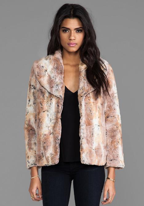 Alice + Olivia Annistyn Round Collar Faux Fur Coat